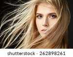 portrait of blonde girl with... | Shutterstock . vector #262898261
