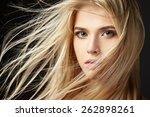 portrait of blonde girl with...   Shutterstock . vector #262898261