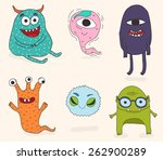 hand drawn cartoon monsters | Shutterstock .eps vector #262900289