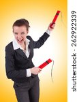 Small photo of Businesswoman with dynamite on white