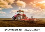 farmer in tractor preparing... | Shutterstock . vector #262922594