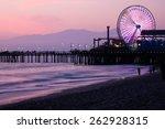 santa monica pier sunset | Shutterstock . vector #262928315