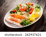 grilled salmon and vegetables | Shutterstock . vector #262937621