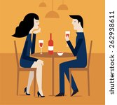 romantic couple sitting in cafe ... | Shutterstock .eps vector #262938611