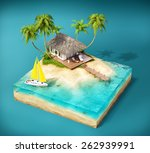 Piece Of Tropical Island With...