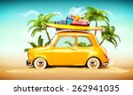 funny retro car with surfboard... | Shutterstock . vector #262941035