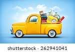 pickup truck with suitcases ... | Shutterstock . vector #262941041