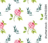watercolor pattern with roses... | Shutterstock . vector #262943384