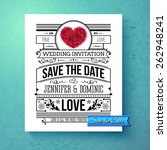 retro stylish save the date... | Shutterstock .eps vector #262948241