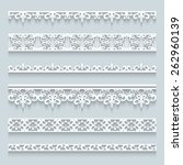 set of white lace borders with... | Shutterstock .eps vector #262960139