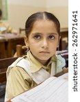 little indian girl in class | Shutterstock . vector #262971641
