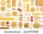 various pasta on white... | Shutterstock . vector #262995989