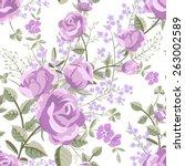 floral seamless vintage rose... | Shutterstock .eps vector #263002589