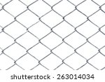 wire fence isolated on white | Shutterstock . vector #263014034