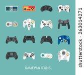 Gamepad Icon Set. Flat Style...