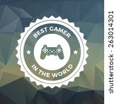 gaming badge on trendy triangle ... | Shutterstock .eps vector #263014301