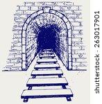 railway tunnel. doodle style   Shutterstock .eps vector #263017901