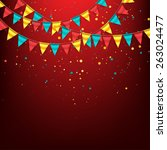 birthday garlands with confetti | Shutterstock .eps vector #263024477