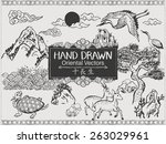 set of hand drawn oriental... | Shutterstock .eps vector #263029961