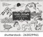 set of hand drawn oriental... | Shutterstock .eps vector #263029961