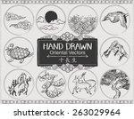 Set Of Hand Drawn Oriental...
