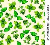 watercolor illustration herbs...   Shutterstock . vector #263031551