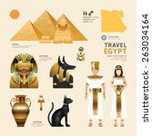 egypt flat icons design travel... | Shutterstock .eps vector #263034164