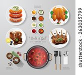 infographic food grill bbq... | Shutterstock .eps vector #263035799