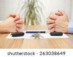 divorce agreement. wife and... | Shutterstock . vector #263038649