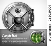 bank round metallic vault on... | Shutterstock .eps vector #263039009