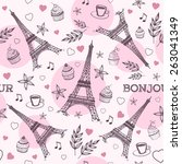 paris hand drawn seamless... | Shutterstock .eps vector #263041349