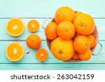 oranges and tangerines in retro ... | Shutterstock . vector #263042159