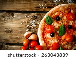 tasty pizza  tomatoes and... | Shutterstock . vector #263043839