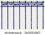 weekly calendar. doodle style   Shutterstock .eps vector #263051867