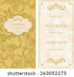 set of vintage invitation cards ... | Shutterstock .eps vector #263052275