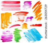 strokes of paint isolated on... | Shutterstock . vector #263054729