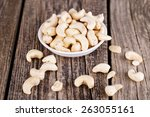 cashews on a white plate on...   Shutterstock . vector #263055161