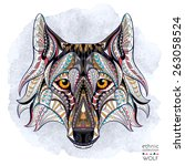 patterned head of the wolf on... | Shutterstock .eps vector #263058524