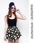 hipster girl portrait. studio...   Shutterstock . vector #263063945