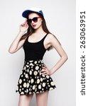 hipster girl portrait. studio...   Shutterstock . vector #263063951