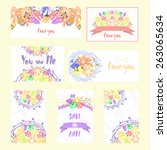 set of vector cards with...   Shutterstock .eps vector #263065634