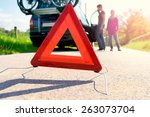 car trouble on a holiday trip | Shutterstock . vector #263073704