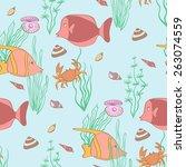underwater seamless pattern | Shutterstock .eps vector #263074559