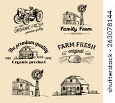 vector retro set of farm fresh... | Shutterstock .eps vector #263078144