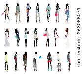 set of female color silhouettes ... | Shutterstock .eps vector #263088071