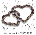 large group of people seen from ...   Shutterstock . vector #263091251