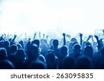 silhouettes of concert crowd in ... | Shutterstock . vector #263095835