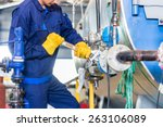 technician in factory at... | Shutterstock . vector #263106089