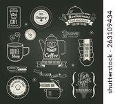 vintage retro restaurant cafe... | Shutterstock .eps vector #263109434