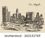 los angeles skyline  california ... | Shutterstock .eps vector #263131769